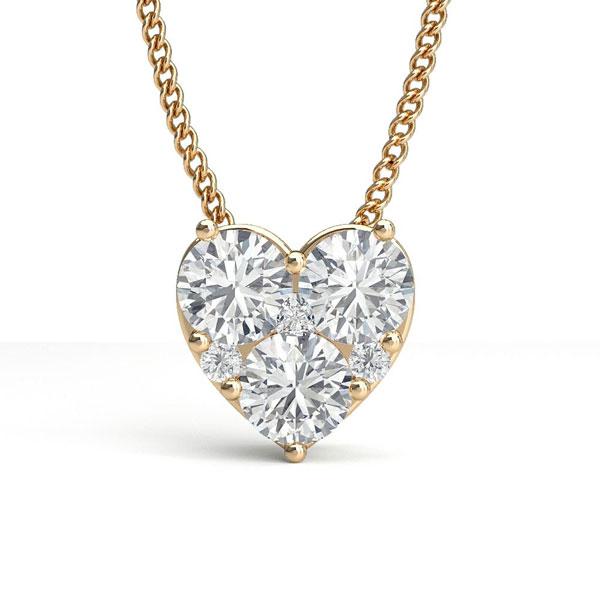 Pendentif cœur diamant rond serti 4 griffes 0.57ct