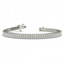 Zwei Reihen Princess Form Diamant Tennis Armband in einer Krappenfassung