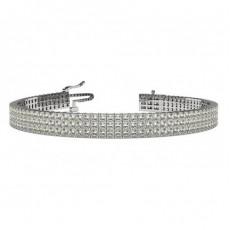 Drei Reihen Princess Form Diamant Tennis Armband in einer Krappenfassung