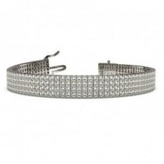 Vier Reihen Princess Form Diamant Tennis Armband in einer Krappenfassung