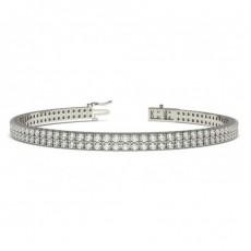 Zwei Reihen Runder Diamant Tennis Armband in einer Pavefassung