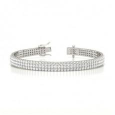 Drei Reihen Runder Diamant Tennis Armband in einer Pavefassung
