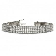 Vier Reihen Runder Diamant Tennis Armband in einer Pavefassung