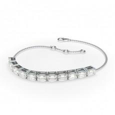 Smaragd und Runde Diamanten Krappenfassung in einem Zierlichen Armband