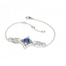 Zierliches Blauer Sapphir Armband in 4 Krappenfassung