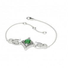 Zierliches Smaragd Armband in 4 Krappenfassung