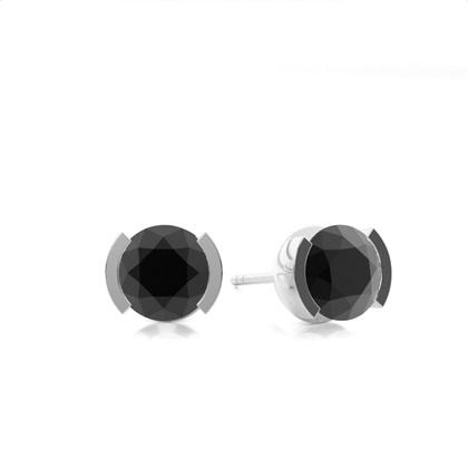 Schwarze Diamant Ohrstecker in einer halben Zargenfassung