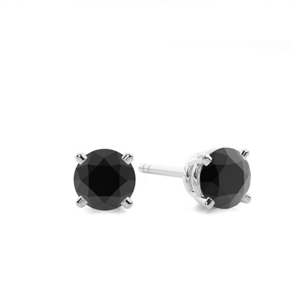 Schwarze Diamant Ohrstecker in einer Krappenfassung