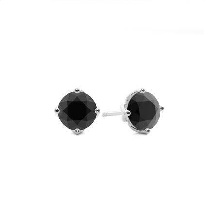 Schwarze Diamant Ohrstecker in einer Zargenfassung