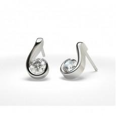Diamant Steck Ohrringe in einer Halbzargenfassung