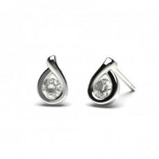 Runde Diamant Designer Ohrringe in einer Halbezargenfassung