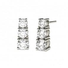 Runde Diamant Kronleuchter Ohrringe in einer 4er-Krappenfassung