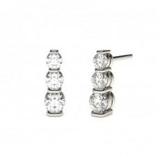 Runde Diamant Kronleuchter Ohrringe in einer Balkenfassung