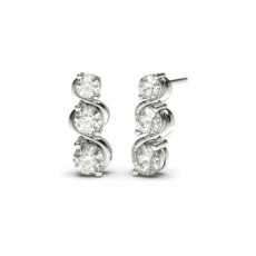 Runde Diamant Kronleuchter Ohrringe in einer 2er-Krappenfassung