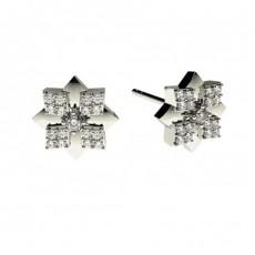0.15ct. Runde Petite Diamantohrhänger in einer 4 Krappen und Pavefassung
