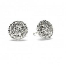 Diamant Cluster Ohrringe rund in einer Pavefassung