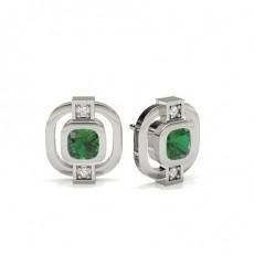 Smaragd Designer Orringe in einer Zargenfassung
