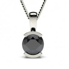 Schwarze Diamant Anhänger in einer halben Zargenfassung