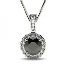Schwarzer Diamant Halo Anhänger
