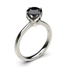 Schwarzer Diamant Verlobungsring dünn in einer 4er-Krappenfassung
