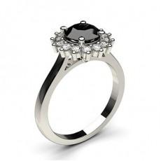 Multi schwarze Diamanten in einer Krappenfassung mit Schulter Diamanten