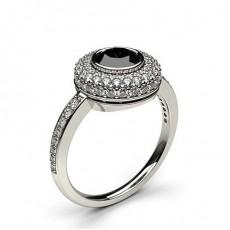 Multi schwarze Diamanten in einer Zargenfassung mit Schulter Diamanten