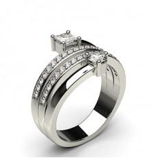 Runder-und-Prinzess Diamant Fashion Ring mit einer Pavefassung