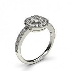 Runder Diamant Cluster Ring in einer Pavefassung