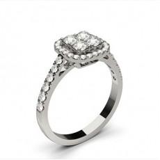 Runder Mehrfachdiamant Ring in einer Pavefassung