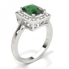 Smaragd Saphir Halo Verlobungsring in einer 4-Krappenfassung